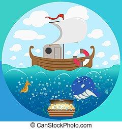 tema, jogo, círculo, mar