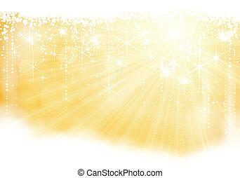 tema, jul, stickande, gyllene
