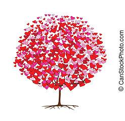 tema, kärlek, träd, valentinkort, hjärtan