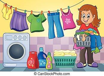 tema, lavanderia, imagem