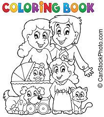 tema, libro colorante, famiglia