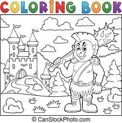 tema, libro colorante, orc