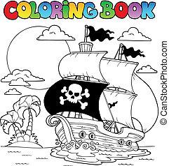 tema, libro colorear, 7, pirata