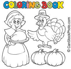 tema, libro colorear, acción de gracias