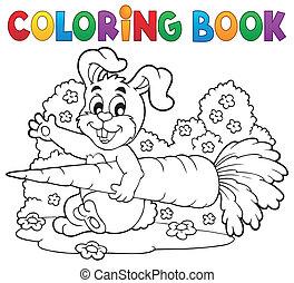 tema, libro colorear, conejo, 4