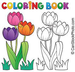 tema, libro colorear, flor 4