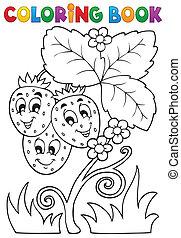 tema, libro colorear, fruta, 4