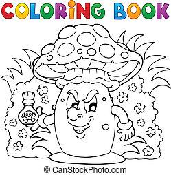 tema, libro colorear, hongo, 3