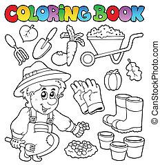 tema, libro colorear, jardín