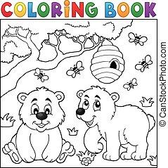 tema, libro colorear, oso, 4