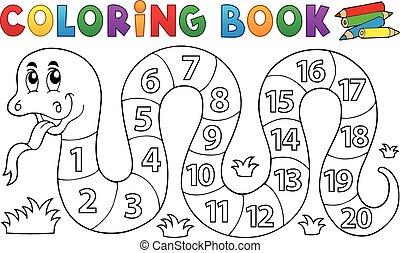 tema, libro colorear, serpiente, números