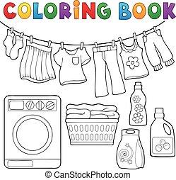 tema, libro, coloritura, bucato