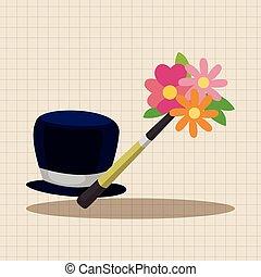 tema, mago, cappello, elementi
