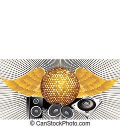 tema, palla, astratto, musica, discoteca