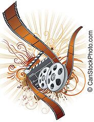 tema, película, película, tira, elemento