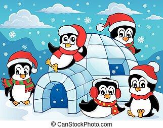 tema, pingüinos, iglú