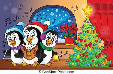 tema, pinguini, natale, immagine, 3