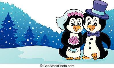 tema, pinguino, 3, immagine, matrimonio