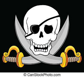 tema, pirata, cranio, 3