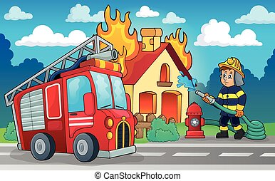 tema, pompiere, immagine, 4