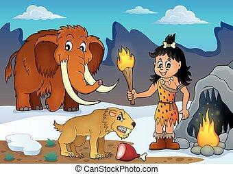 tema, prehistórico, imagen, 3