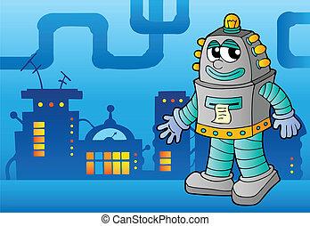 tema, robot, avbild, 3