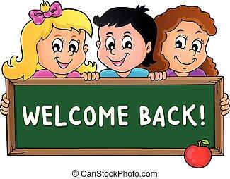 tema, schoolboard, 3, segurando, crianças