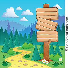 tema, skog, avbild, 3