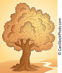tema, träd, avbild, 3