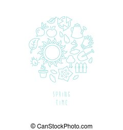 tema, trädgårdsarbete, runda, illustration