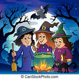 tema, três, bruxas