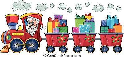 tema, trem, natal, imagem, 4