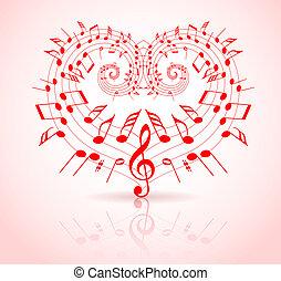 tema, valentines, música, dia