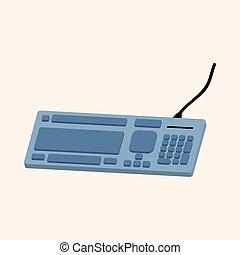 tema, vector, computadora, elementos, teclado