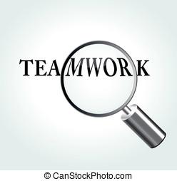 tema, vettore, lavoro squadra, illustrazione