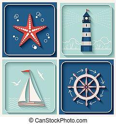 tema, vettore, marino, icone