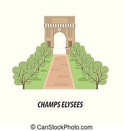 tema, vistas, ilustración, paris.