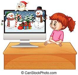 tema, xmas., desktop computer
