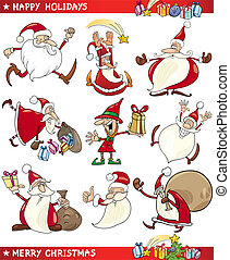 temaer, sæt, cartoon, jul