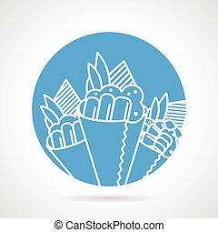 Temaki blue round vector icon