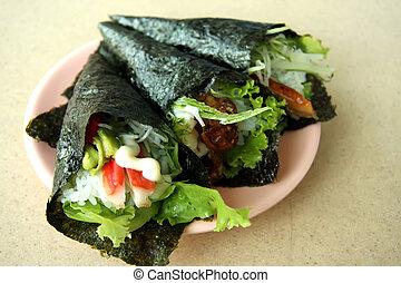 Temaki sushi - Hand rolled temaki sushi traditional japanese...