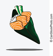 Temaki sushi salmon