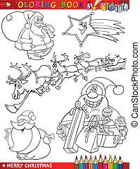 temas, coloração, caricatura, natal