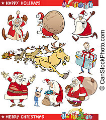 temas, conjunto, caricatura, navidad