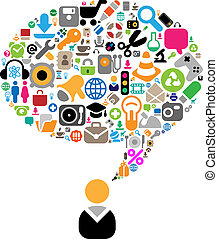 temas, conversación, conjunto, iconos