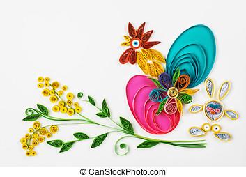 Temat, święto, Wielkanoc,  quilling, szczęśliwy