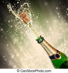 temat, bryzgając, celebrowanie, szampan