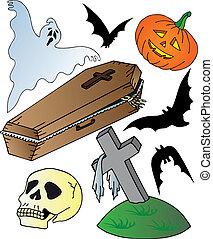 temat, halloween, zbiór
