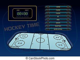 temat, hokej, lód
