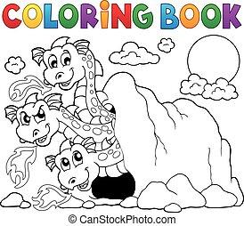 Temat, Kolorowanie, książka, smok